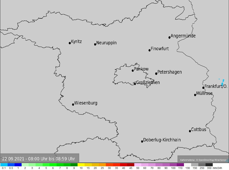 Einstündige Niederschlagssummen in Berlin und Brandenburg