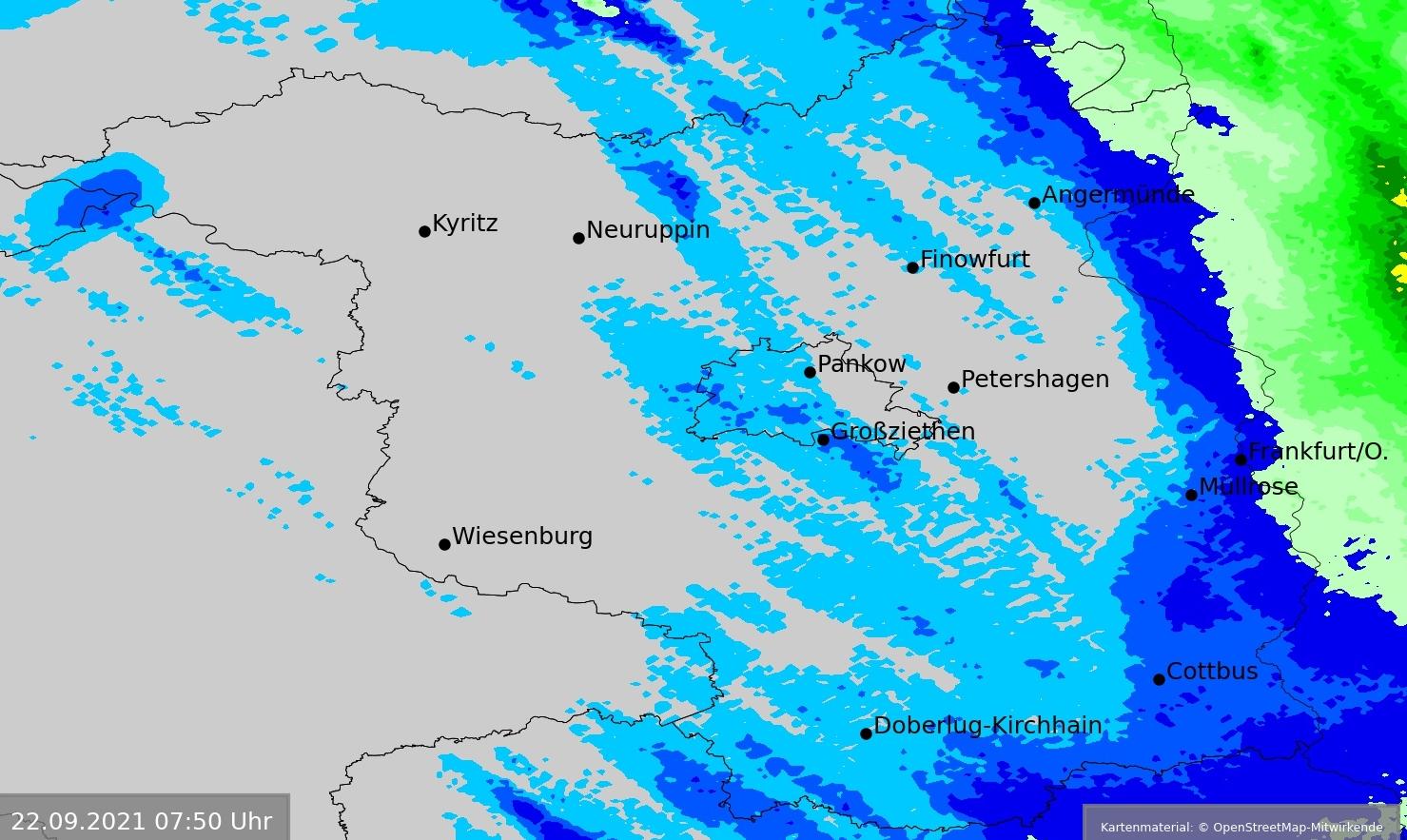 24-stündige Niederschlagssummen in Berlin und Brandenburg