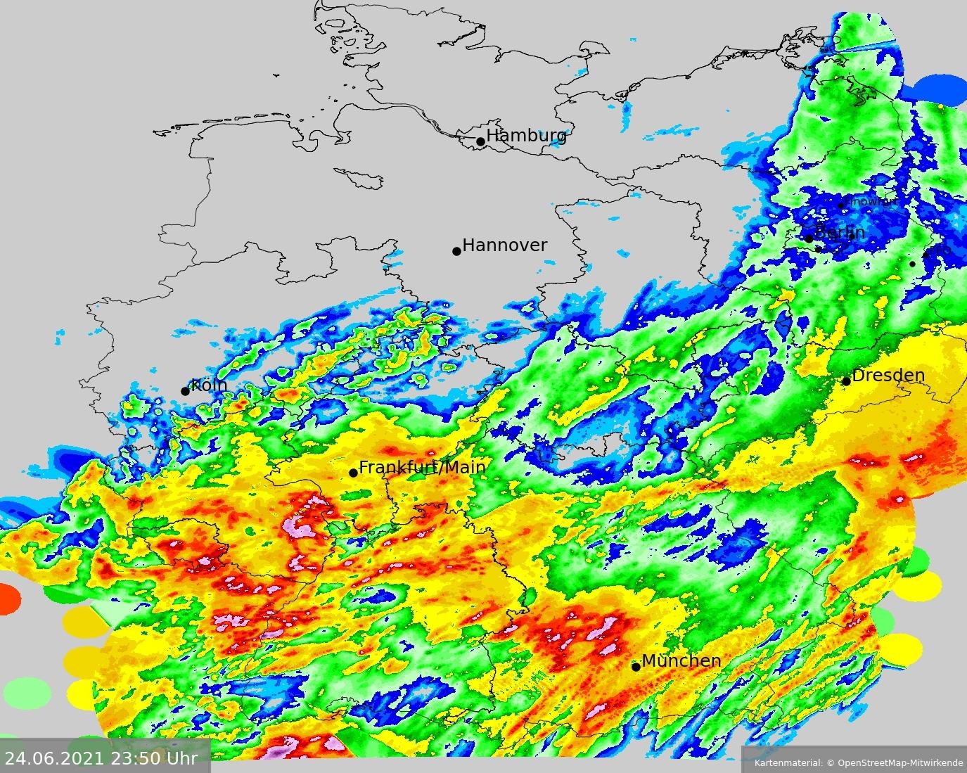 24-stündige Niederschlagssummen in Deutschland